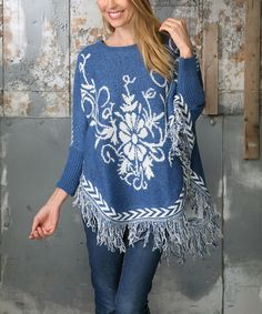 Another great find on #zulily! Ananda's Collection Blue Floral Fringe-Trim Poncho by Ananda's Collection #zulilyfinds