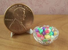 Dollhouse Miniature Easter Jelly Beans in Bowl by miniholiday, $4.99