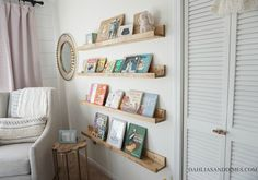 This week we highlight DIY Book Ledges placed above the glider in Baby Girl's nursery. I really enjoyed this project for two reasons. Nursery Room, Girl Nursery, Girl Room, Babies Nursery, Boho Nursery, Nursery Decor, Room Decor, Nursery Bookshelf, Book Shelf For Nursery