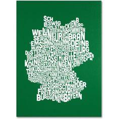 Trademark Art 'forest-Germany Regions Map' Canvas Art by Michael Tompsett, Size: 30 x 47, Green
