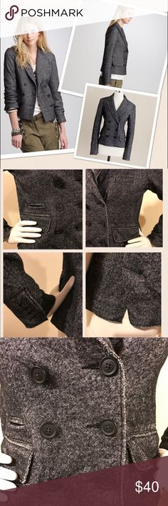 "J. Crew Marled Thandie Blazer Wool Blend J. Crew Marled Thandie Blazer Wool Blend Heather Graphite Size 4. Double-breasted blazer knit in cotton/wool jacquard with brushed surface. Raw-edge seams, lapel collar, welt pockets, 4 buttons at cuffs, back double vent & partially lined. (Measured flat) Bust 18.5"", waist 17"", shoulder to shoulder 15"", shoulder to cuff 22.5, length 21""(hits at hips) J. Crew Jackets & Coats Blazers"