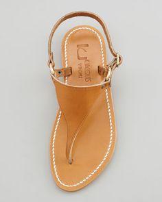 Triton Slingback Flat Thong Sandal, Natural - Neiman Marcus