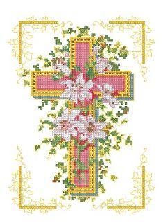 """Сачать схему вышивки """"Крест розовый"""""""