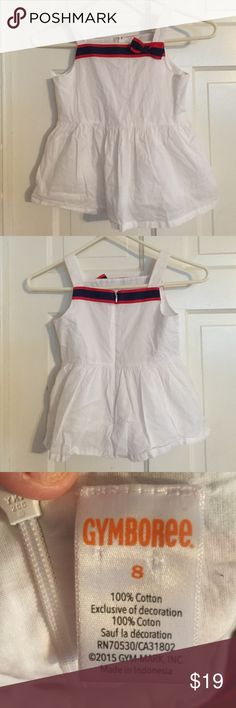 💎Gymboree Darling White Cotton Top. Size 8 💎Gymboree Darling White Cotton Top. Size 8. Oh so cute 100% cotton white top with blue and red Grograin ribbon detail at the top on front and back. Excellent condition. Worn once. Gymboree Shirts & Tops