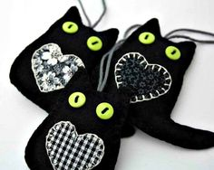 Black felt cat ornamentsLucky black catsGood by PuffinPatchwork