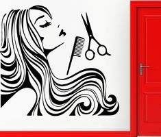 New Arrival Hair Shop Vinyl Wall Decal Long Hair Sexy Girl Spa Barber shop Hair Shop Salon Wall Sticker Window Glass Decoration