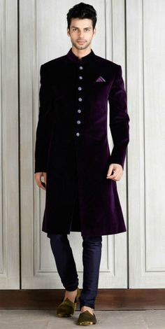 Mens New Purple Velvet Wedding Designer Groom Indo Western Sherwani Indian Groom Dress, Wedding Dresses Men Indian, Groom Wedding Dress, Mens Wedding Reception Attire, Wedding Coat, Indian Weddings, Farm Wedding, Wedding Couples, Boho Wedding