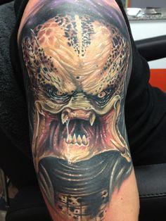 Sick predator tattoo by Randy Engelhard. He is a guest artist at Attitude Tattoo Studio. #tattoo #tattoos #ink