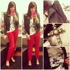 calça vermelha + couro