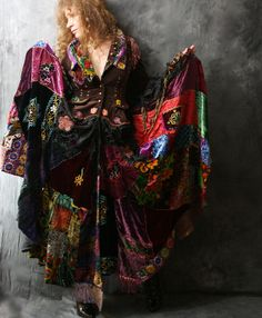 Vintage Magical Hippie Gypsy Stevie Rock Star Dress Fairy Tale Coat Embroidered Patchwork Velvet // Made to Order. $950.00, via Etsy.