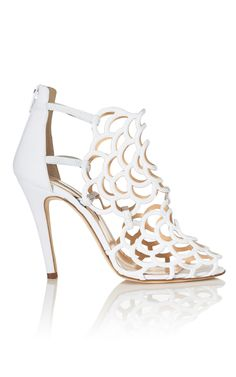 Oscar de la Renta White Gladia Bootie - Ready-to-Wear Trunkshow at Moda Operandi | Moda Operandi