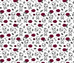 Colorful fabrics digitally printed by Spoonflower - Little roses and bones skulls for girls halloween day of the dead skeleton valentine garden white mint red Skull Fabric, Red Fabric, Badass Wallpaper Iphone, Halloween Vampire, Halloween Prints, Pattern Designs, 2020 Vision, Fabric Wallpaper, Vampires