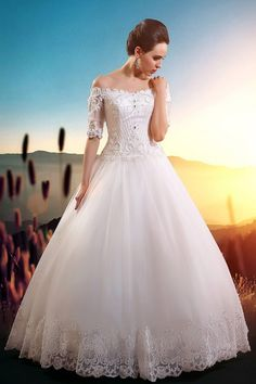 Elegant Ball Gown Short Sleeved Lace over Tulle Wedding Dress