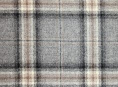 Morlich Wool Fabric A grey, taupe and black large check tartan wool fabric.