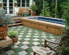 Above Ground Swimming Pools for Sale Landscape Contemporary with Backyard Checker Pattern Container Plants Courtyard Deck Endless Pool Garden Bench Ground