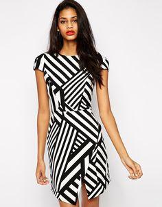 ASOS Bonded Asymmetric Stripe Dress