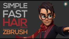 Simple and Fast Stylized Hair Creation in Zbrush - Modern Zbrush Tutorial, 3d Tutorial, Face Topology, Zbrush Hair, Balage Hair, Zoella Hair, Hard Surface Modeling, Sculpting Tutorials, Simple Character