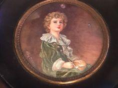 Antique Watercolour Miniature Of the Famous Pears Advertisement Titled Bubbles #Miniature #pears #pearsadvertisement #bubbles #miniaturewatercolour #watercolour #art #artforsale