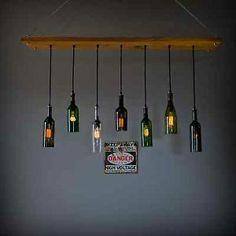 repurpose wine bottles   Repurposed-Wine-Bottle-Seven-Pendant-Chandelier-Wood-Frame-Hanging ...