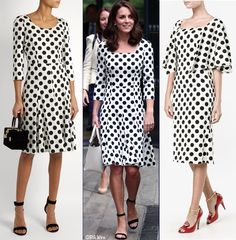See the Duchess of Cambridge, formerly Kate Middleton, in her new Dolce & Gabbana D&G polka dot dress, new Office Nina sandals and shorter hair at Wimbledon Royal Dresses, Satin Dresses, Nice Dresses, Princess Kate Middleton, Kate Middleton Style, White Satin Dress, Dress Black, Green Coat, Straight Skirt