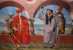 Totentantz is the common title of a fresco by Niklaus Manuel Deutsch made in the Berner Dominikanerkloster, which the artist began in 1516/17. The sequence of images (80 meters and 24 scenes) was destroyed in 1660. What remains is a copy (1649) by Albrecht Kauw (1621-1681).
