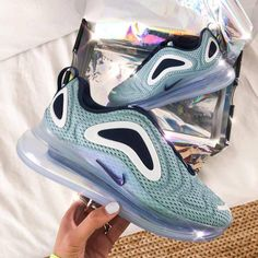 """Nike Air Max 720 """"Day"""" link in organic to shop really good colorway for the ladies - all sizes from available . Cheap Nike Air Max, Nike Air Vapormax, Blue Nike, Nike Green, Nike Air Max Original, Most Popular Nike Shoes, Air Max Sneakers, Shoes Sneakers, Baskets Nike"""