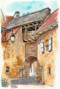 Catherine Gout 2018 Best Picture For Landscape and Urbanism Architecture For Your Taste You are look Watercolor Sketchbook, Watercolor And Ink, Watercolor Illustration, Watercolor Paintings, Watercolours, Architecture Drawing Art, Watercolor Architecture, Watercolor Landscape, Sunset Landscape