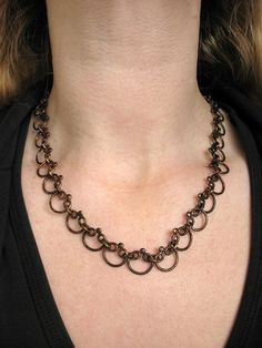 Brass Scallop Chain Necklace with Toggle Clasp by missficklemedia