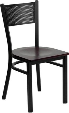 Black Grid Back Metal Restaurant Chair with Mahogany Finish Wood Seat