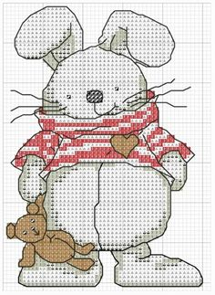 Cross-stitch Bunny... no color chart available, just use pattern chart as your color guide.. or choose your own colors...
