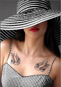 What does swallow tattoo mean? We have swallow tattoo ideas, designs, symbolism and we explain the meaning behind the tattoo. Dove Tattoos, Girl Tattoos, Tattoos For Women, Tatoos, Swallow Tattoo Meaning, Tattoos With Meaning, Chest Tattoo Simple, Tattoo Drawings, I Tattoo