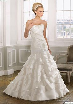 Buy cheap layers skirt strapless bridal wedding gown dresses with with $173.6-190.4/Piece DHgate