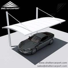 Aluminum Shelters - Cantilever Car Port for 1 Car - Sunshield Car Shade Carport Garage, Pergola Carport, Pergola With Roof, Pergola Kits, Carport Canopy, Attached Pergola, Diy Pergola, Pergola Ideas, Gazebo