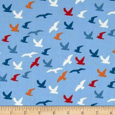 Nautical Sea Gulls Blue from @fabricdotcom%0A%0ADesigned by The Henley Studio for Andover Fabrics, this cotton print includes colors of blue, red, orange and white. Use for quilting, apparel, crafts and home decor accents.