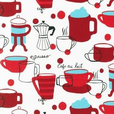 Cafe Au Lait in Red from the Metro Cafe Collection, Monaluna, Robert Kaufman Fabrics