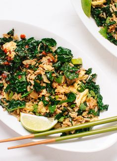 Spicy stir-fried kale with coconut and rice (vegetarian and gluten free) - cookieandkate.com