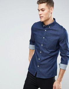 ASOS Stretch Slim Denim Shirt Rinse Wash - Navy