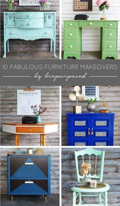 10 Amazing Furniture Makeovers- So many ideas for furniture makeovers that use different types of paint and styles!