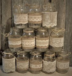 These are 12 ivory lace mason jar sleeves. The burlap and lace is already adhere… These are 12 ivory lace mason jar sleeves. The burlap and lace is already adhered together. Mason jars are not included. These will fit Ball… Continue Reading → Pot Mason Diy, Burlap Mason Jars, Mason Jar Crafts, Wedding Centerpieces Mason Jars, Rustic Centerpieces, Bridal Shower Rustic, Bridal Showers, Rustic Bridal Shower Decorations, Wedding Decorations