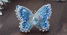 Брошь-кулон бабочка из бисера с хрусталем