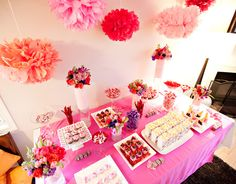 Brightly colored tissue poms inspired baby shower.   #tissuepoms #babyshowerideas http://www.nashvillewrapscommunity.com/blog/2010/07/how-to-make-tissue-flower-pom-poms/