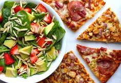 This recipe pairs CPK pizzas with a refreshing avocado citrus salad, and it's perfect for a big group. Pizza Sides, How To Make Pizza, Oven Racks, Salad Bar, Large Bowl, Vegetable Pizza, Cooking Tips, Dorm, Spinach