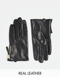 Image 1 ofASOS Leather Gloves With Zip And Touch Screen