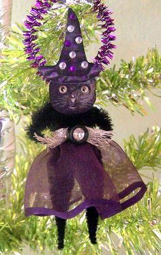 Kitty Witch Vintage Style Halloween Feather Tree by TreePets