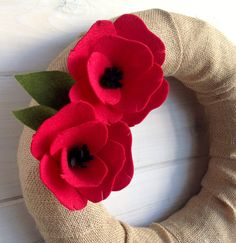 Yarn Wreath Felt Handmade Door Decoration Greenery por ItzFitz