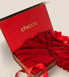 Give your holiday gifts some va-va-voom with our wildly chic signature Chico's Leopard-print boxes and crimson grosgrain ribbons. #HolidayFeeling
