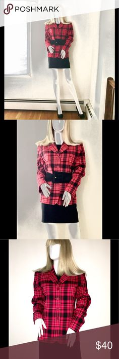 "🖤 RED & BLACK PLAID CHAUS WOOL BLAZER SZ 8 🖤 This red and black, plaid, fully lined, wool jacket is perfect for the office with a little black dress underneath...shed the jacket and then you're ready for Happy Hour or that special dinner date. Measurements: Size-8, Shoulder Seam to Shoulder Seam- 17"", Armhole- 21"", Armhole Inseam Seam to Sleeve Hem- 16.5"", Top Shoulder Seam to Sleeve Hem- 33"", Across Chest- 20"", Waist- 38"", Shoulder Seam to Jacket Hem- 26"" Two Faux Flap Pockets. Worn Once…"