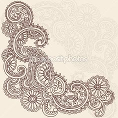 Hand-Drawn Abstract Henna Mehndi Swirls, Flowers and Paisley Doodle Vector Illustration Design Elements - stock vector Paisley Doodle, Henna Doodle, Doodle Tattoo, Mehndi Tattoo, Henna Mehndi, Henna Art, Henna Tattoos, Art Tattoos, Hand Tattoo
