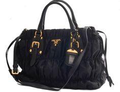 Prada Black Nylon & Leather Tessuto Gaufre Tote Bag