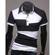 Laconic Turn-Down Collar Color Block Splicing Short Sleeve Men's Polo T-Shirt